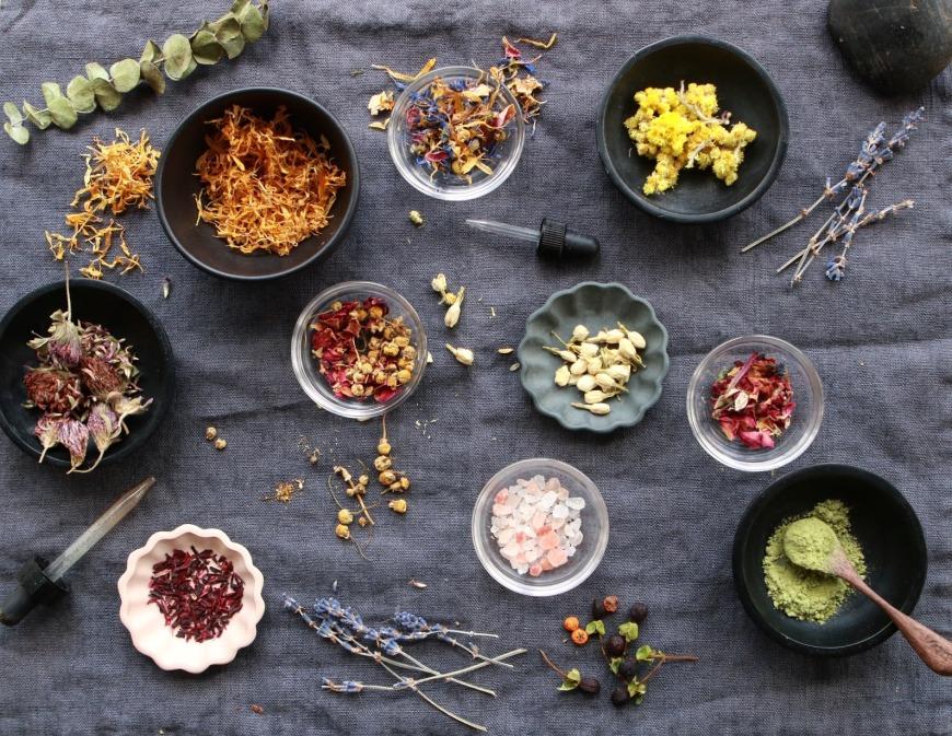 herbs, spices, salt, lavender